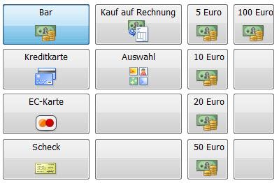 Die Zahlungsarten werden auf der Touchkasse übersichtlich und intuitiv dargestellt.